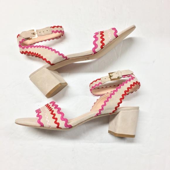 d7ef06a7b5d0 kate spade Shoes - KATE SPADE Piedra Suede Ric Rac Sandals Heels